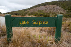 Lake Surprise sign. Ruapehu. Tongariro National Park, New Zealand royalty free stock image