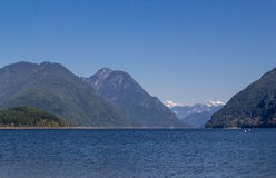 Lake surrounded with mountains. Stock Photo