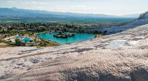 Lake surrounded of travertine, Pamukkale Stock Photos