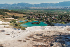Lake surrounded of travertine, Pamukkale Royalty Free Stock Image