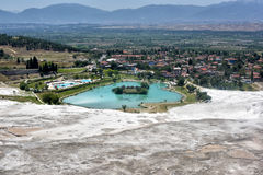 Lake surrounded of travertine, Pamukkale Stock Photography