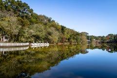 Lake with Swan Pedal Boats at Immigrant Village Park Parque Aldeia do Imigrante - Nova Petropolis, Rio Grande do Sul, Brazil Stock Photo