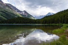Lake Swiftcurrent in Glacier National Park Stock Photo