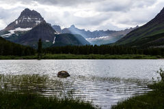 Lake Swiftcurrent in Glacier National Park Stock Images