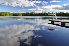 Lake swimming place. Swedish lake swimming place in august Stock Photo