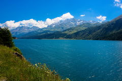 Lake in Switzerland alps. Summer royalty free stock images