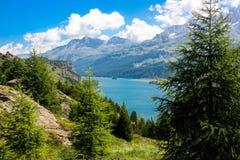 Lake in Switzerland alps. Summer stock photography