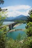 Lake sylvenstein and bridge in bavaria Royalty Free Stock Photo