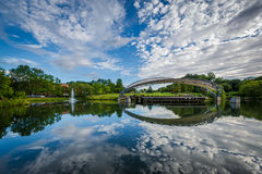 The lake at Symphony Park, in Charlotte, North Carolina. royalty free stock photo