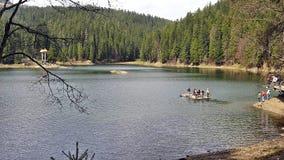 On the lake Synevir. Raft on the lake Synevir Stock Photography
