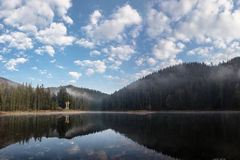 Lake Synevyr Carpathians, clouds Royalty Free Stock Photos