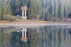 Lake Synevyr Carpathians. Morning, dawn, spring 2014 Royalty Free Stock Photo