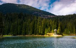 Lake in Synevyr national park in springtime. Beautiful nature of Carpathians Royalty Free Stock Photography