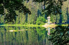 Lake in Synevyr national park in summertime. Beautiful nature of Carpathians. view from the forested shore royalty free stock images