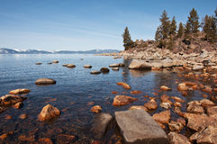 Lake Tahoe. The rocky shoreline of Lake Tahoe Stock Photography