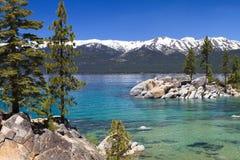 Lake Tahoe. Beautiful Lake Tahoe, with view on Sierra Nevada mountains Stock Photo