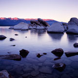 Lake Tahoe. At sunset with purple colors Stock Photos