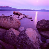 Lake Tahoe. At sunset with purple colors Stock Image