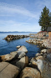 Lake Tahoe. Pier at Lake Tahoe in the morning, vertical composition Stock Photography