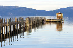 Lake tahoe. Wooden pier at sunset Royalty Free Stock Image
