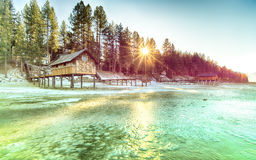 Lake Tahoe Beach. Frozen, California stock image