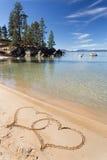 Lake Tahoe beach with harts Royalty Free Stock Photo
