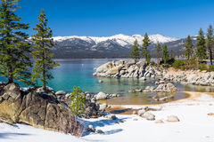 Lake Tahoe beach. With snow on the ground royalty free stock photos