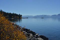Lake Tahoe with blue sky and mountain ridge Royalty Free Stock Photography