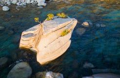 Lake Tahoe Bonsai Rock. At sunset shot by drone royalty free stock photography