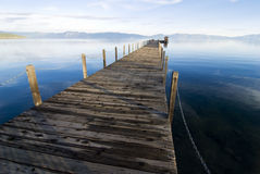 Lake tahoe - California. Lake tahoe wooden pier at sunset Royalty Free Stock Photos