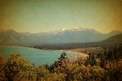 Lake Tahoe  California and mountain range Stock Images