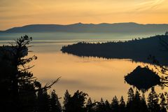 Lake Tahoe California Orange Sunrise over Emerald Bay royalty free stock photo
