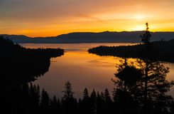 Lake Tahoe California Orange Sunrise over Emerald Bay royalty free stock image