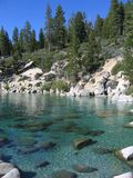 Lake Tahoe clarity. Clear Lake Tahoe with shoreline and rocks Stock Photo