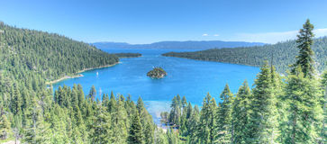 Lake Tahoe Emerald Bay. Island on a beautiful sunrise on the mountains representing summer vacations Royalty Free Stock Photography