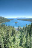 Lake Tahoe Emerald Bay. Island on a beautiful sunrise on the mountains representing summer vacations Royalty Free Stock Photos