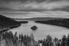 Lake Tahoe Emerald Bay view. View of Lake Tahoe from near Emerald Bay, California, USA, including Fannette Island, in the end of the winter of 2019, covered with stock photo