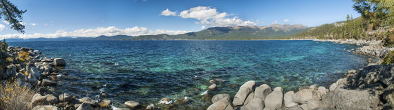 Lake Tahoe Hidden Beach Trail. Panoramic image taken along the hidden beach trail in Lake Tahoe California Stock Photo