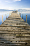 Lake tahoe lake and sky. Lake tahoe wooden pier at sunset Royalty Free Stock Image