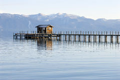 Lake tahoe landscape. Lake tahoe wooden pier at sunset Royalty Free Stock Photo