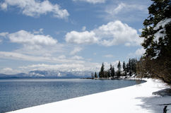 Snow covered shoreline at Lake Tahoe, California Royalty Free Stock Photo