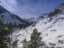 Lake Tahoe Mountainside Snow. Mountainside at Lake Tahoe in the Sierra Nevada Mountains after a snow storm stock images