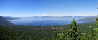 Lake Tahoe panorama. A panorama overviewing the famous Lake Tahoe Royalty Free Stock Images
