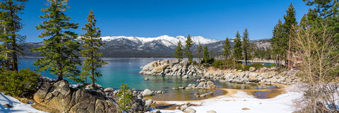 Lake Tahoe panorama. With view on Sierra Nevada mountains royalty free stock image