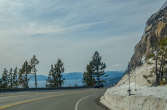 Lake Tahoe road in winter Royalty Free Stock Photography