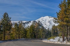 Lake Tahoe road in winter Stock Photos