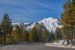 Lake Tahoe road in winter Stock Photos