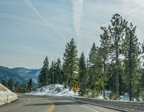 Lake Tahoe road in winter Royalty Free Stock Photo
