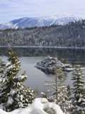 Lake Tahoe`s Emerald Bay in the snow. Lake Tahoe`s Emerald Bay after a snow storm stock photography