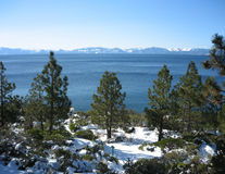 Lake Tahoe's Northwest Shore. A snowy scene taken looking over Lake Tahoe's Northwest shore, near Incline Village in Nevada Stock Photography
